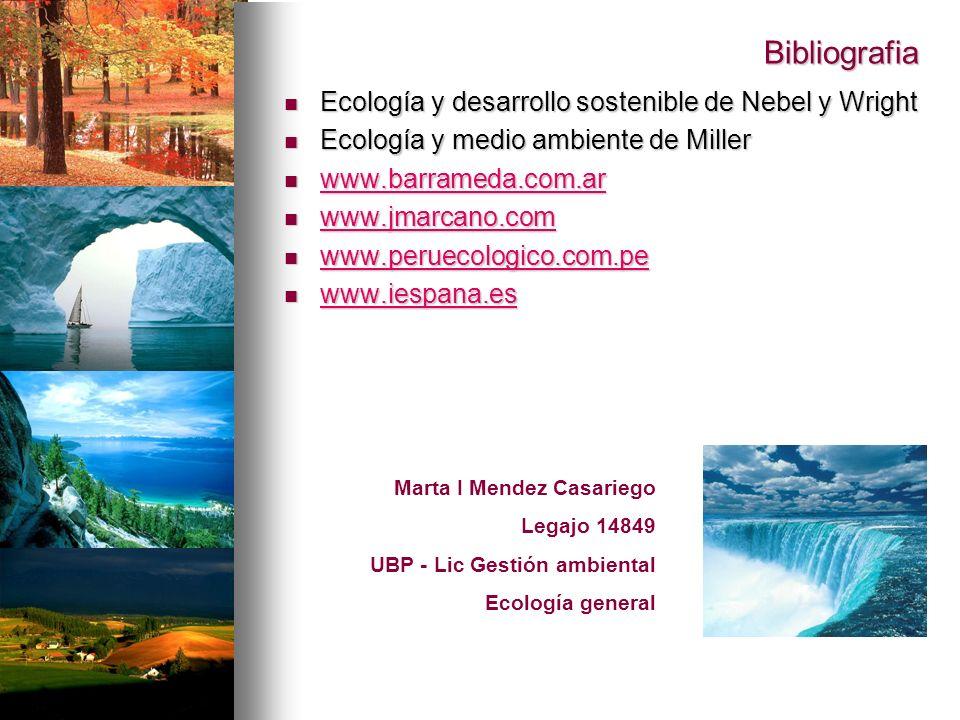 Bibliografia Ecología y desarrollo sostenible de Nebel y Wright