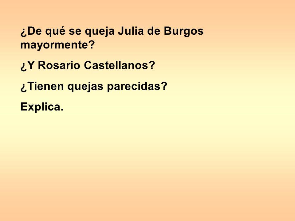 ¿De qué se queja Julia de Burgos mayormente