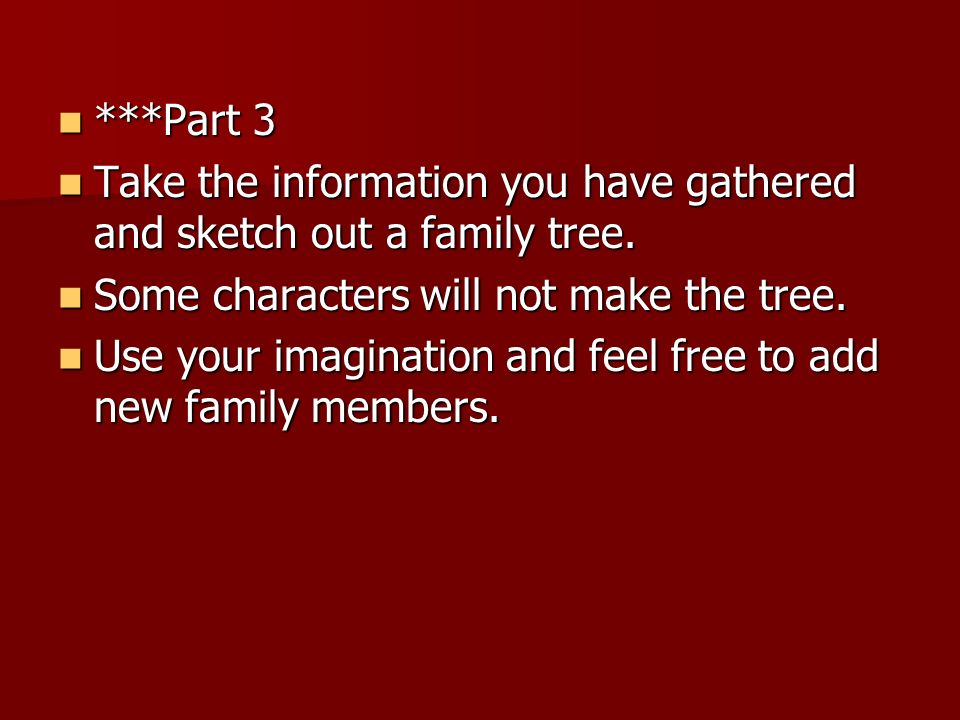 ***Part 3Take the information you have gathered and sketch out a family tree. Some characters will not make the tree.