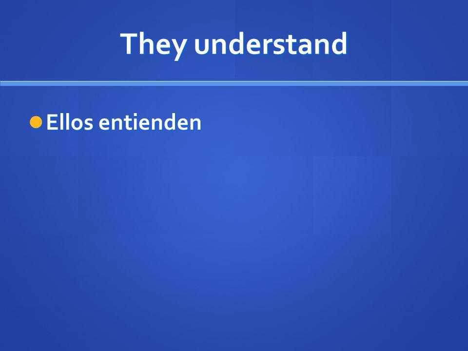 They understand Ellos entienden