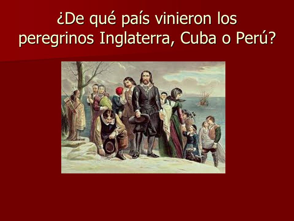 ¿De qué país vinieron los peregrinos Inglaterra, Cuba o Perú