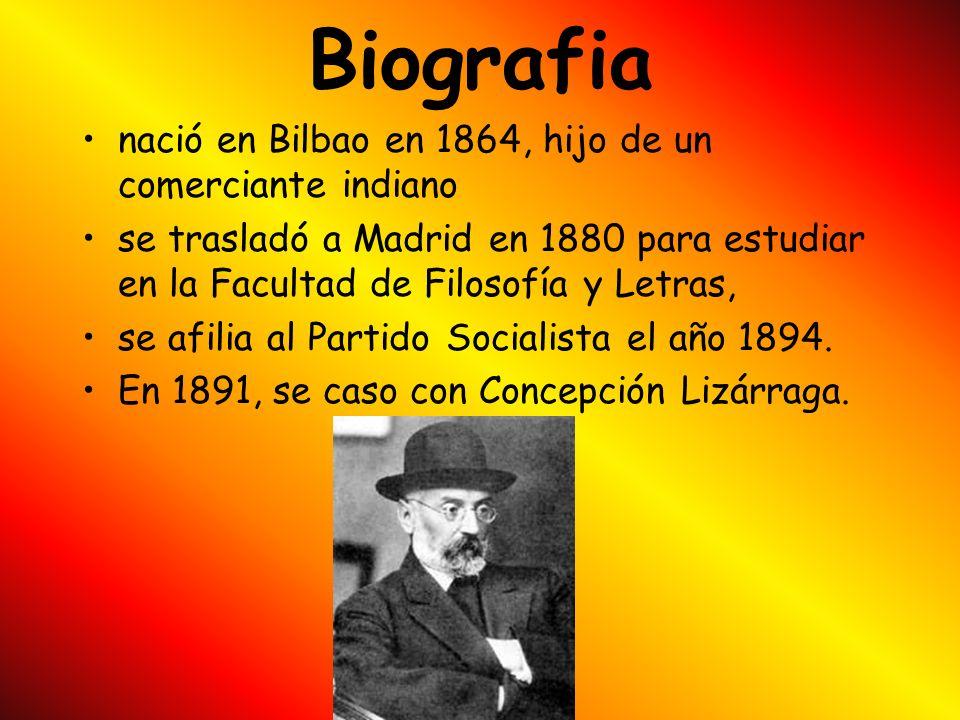 Biografia nació en Bilbao en 1864, hijo de un comerciante indiano