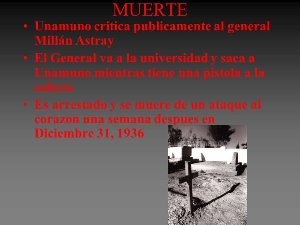 MUERTE Unamuno critica publicamente al general Millán Astray
