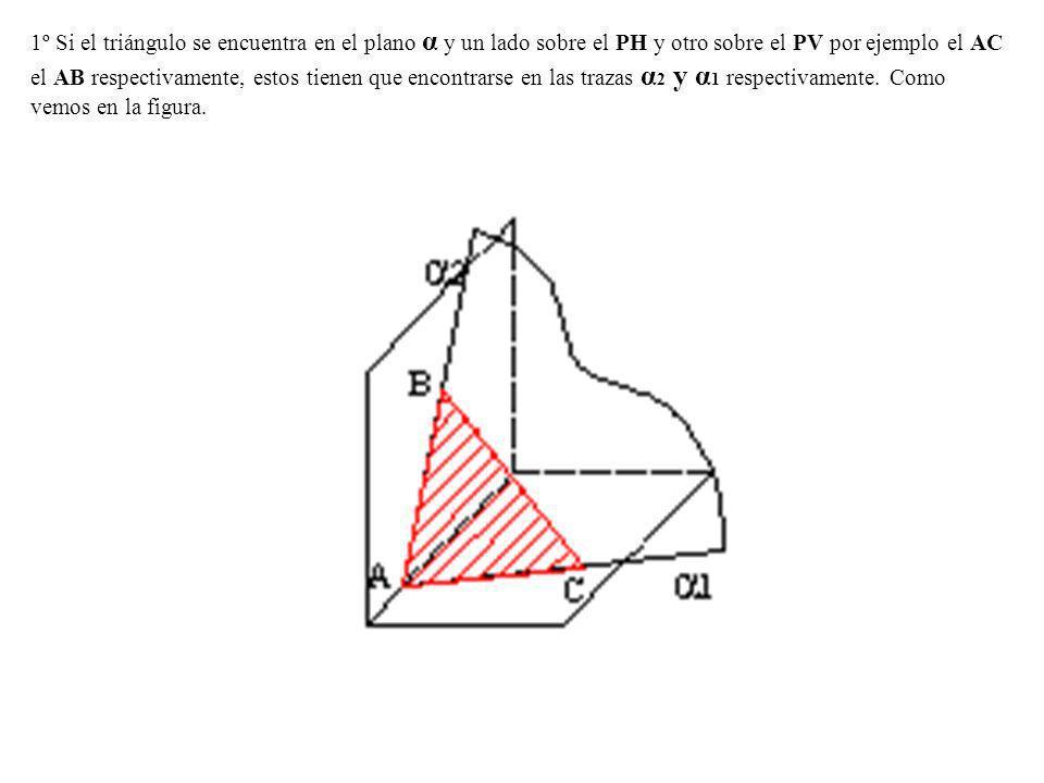 1º Si el triángulo se encuentra en el plano α y un lado sobre el PH y otro sobre el PV por ejemplo el AC el AB respectivamente, estos tienen que encontrarse en las trazas α2 y α1 respectivamente.