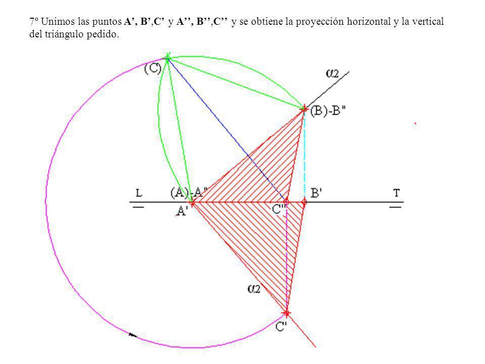 7º Unimos las puntos A', B',C' y A'', B'',C'' y se obtiene la proyección horizontal y la vertical del triángulo pedido.