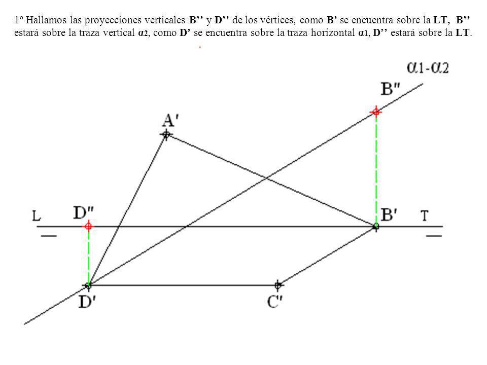 1º Hallamos las proyecciones verticales B'' y D'' de los vértices, como B' se encuentra sobre la LT, B'' estará sobre la traza vertical α2, como D' se encuentra sobre la traza horizontal α1, D'' estará sobre la LT.