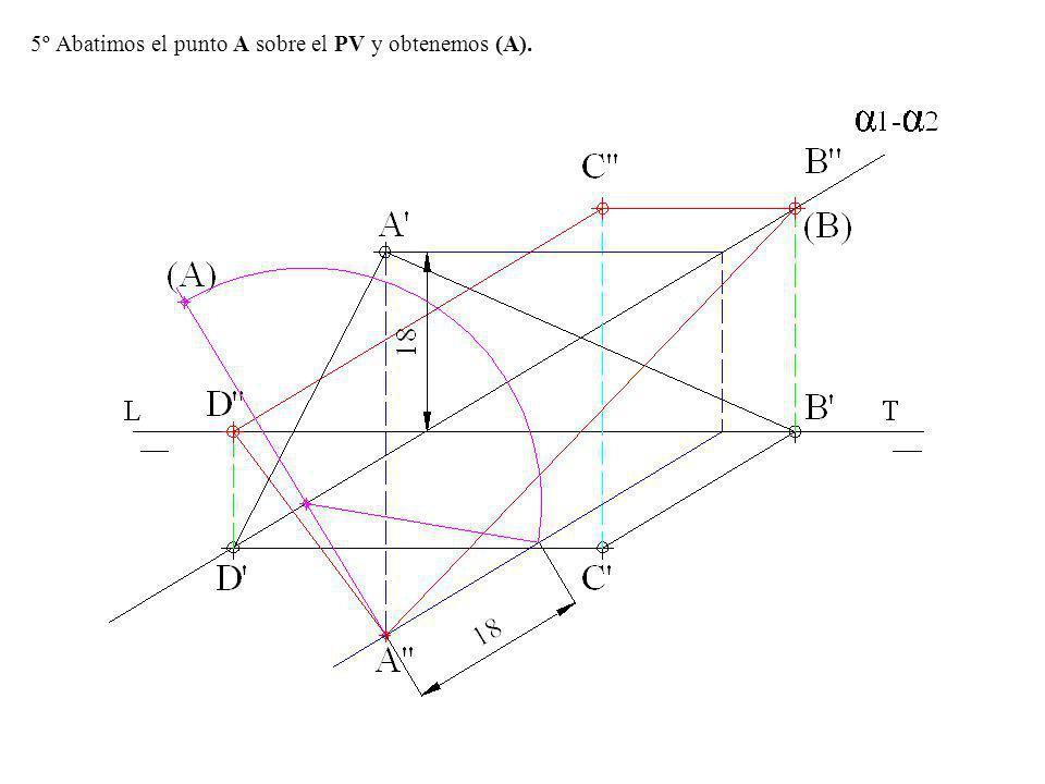 5º Abatimos el punto A sobre el PV y obtenemos (A).
