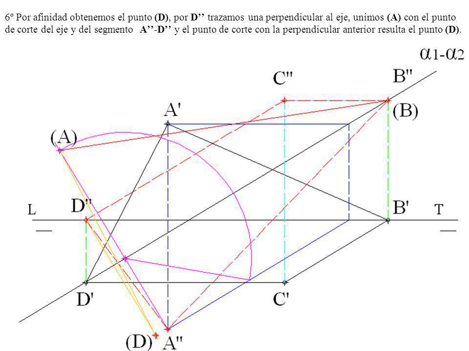 6º Por afinidad obtenemos el punto (D), por D'' trazamos una perpendicular al eje, unimos (A) con el punto de corte del eje y del segmento A''-D'' y el punto de corte con la perpendicular anterior resulta el punto (D).