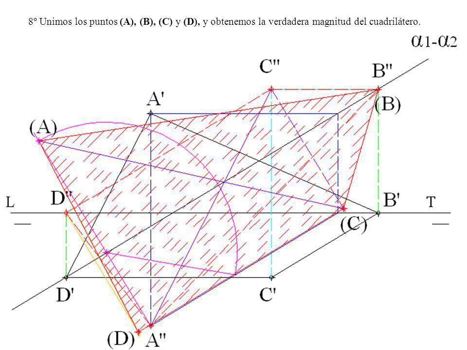 8º Unimos los puntos (A), (B), (C) y (D), y obtenemos la verdadera magnitud del cuadrilátero.