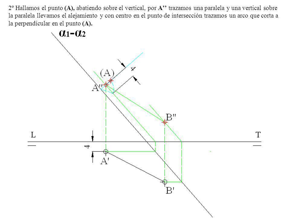 2º Hallamos el punto (A), abatiendo sobre el vertical, por A'' trazamos una paralela y una vertical sobre la paralela llevamos el alejamiento y con centro en el punto de intersección trazamos un arco que corta a la perpendicular en el punto (A).