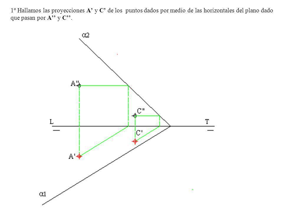 1º Hallamos las proyecciones A' y C' de los puntos dados por medio de las horizontales del plano dado que pasan por A'' y C''.