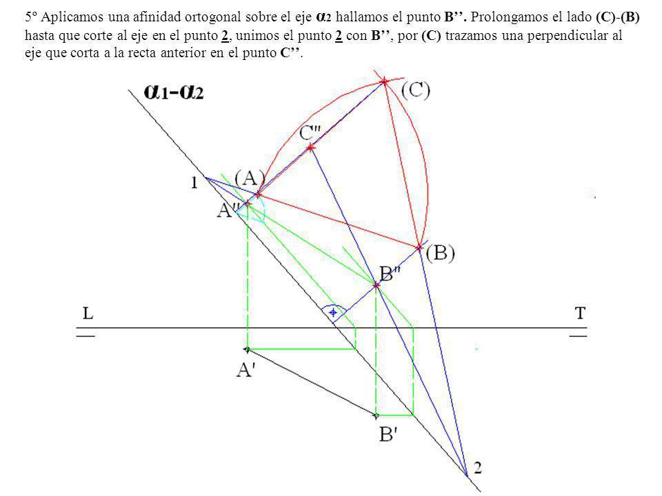 5º Aplicamos una afinidad ortogonal sobre el eje α2 hallamos el punto B''.