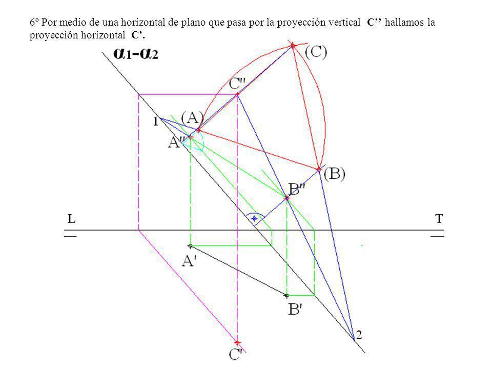 6º Por medio de una horizontal de plano que pasa por la proyección vertical C'' hallamos la proyección horizontal C'.