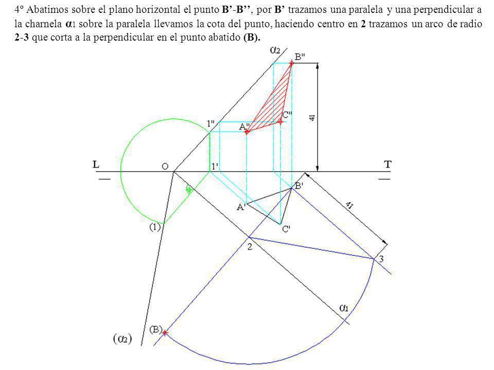 4º Abatimos sobre el plano horizontal el punto B'-B'', por B' trazamos una paralela y una perpendicular a la charnela α1 sobre la paralela llevamos la cota del punto, haciendo centro en 2 trazamos un arco de radio 2-3 que corta a la perpendicular en el punto abatido (B).