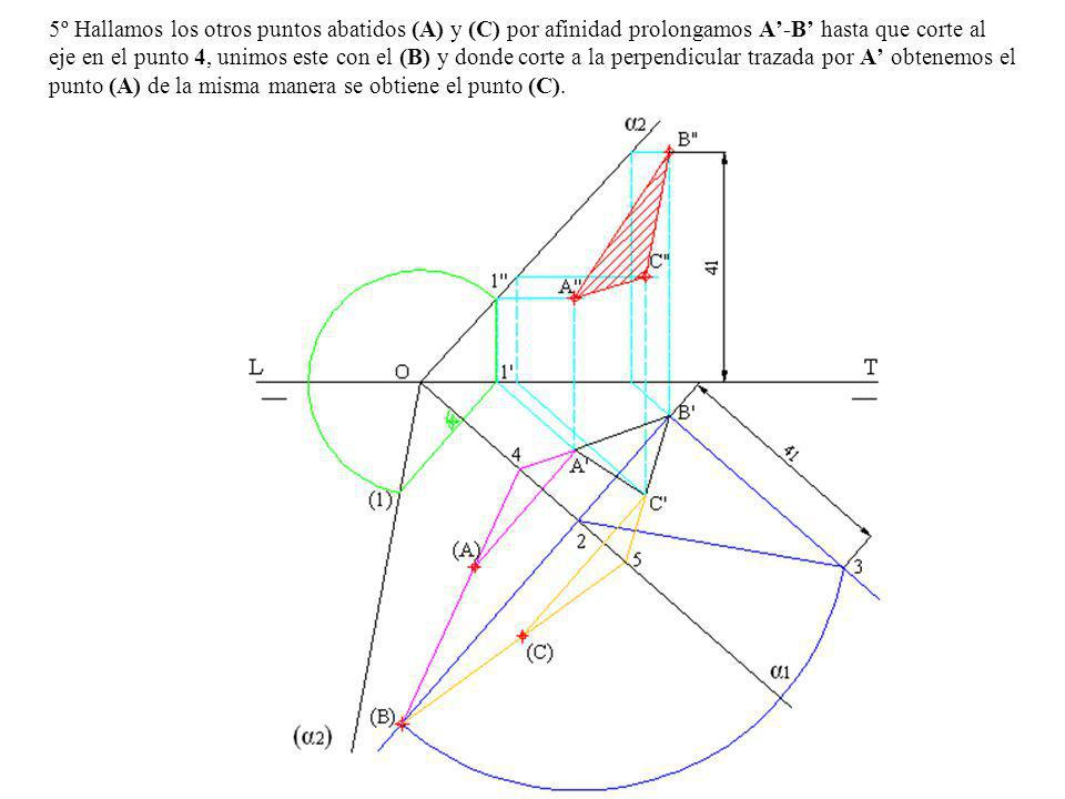 5º Hallamos los otros puntos abatidos (A) y (C) por afinidad prolongamos A'-B' hasta que corte al eje en el punto 4, unimos este con el (B) y donde corte a la perpendicular trazada por A' obtenemos el punto (A) de la misma manera se obtiene el punto (C).