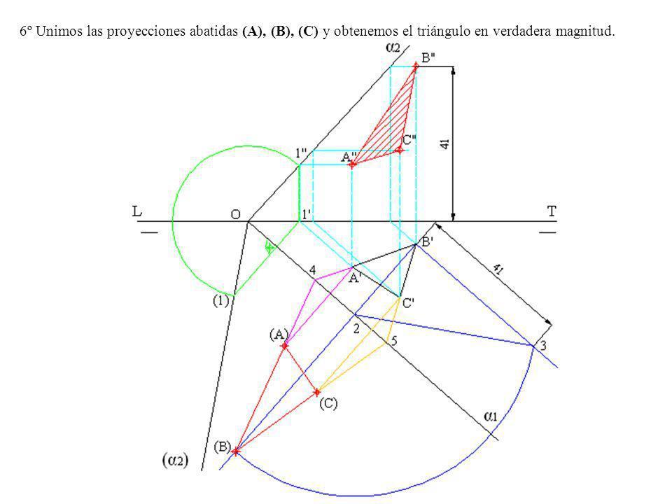 6º Unimos las proyecciones abatidas (A), (B), (C) y obtenemos el triángulo en verdadera magnitud.