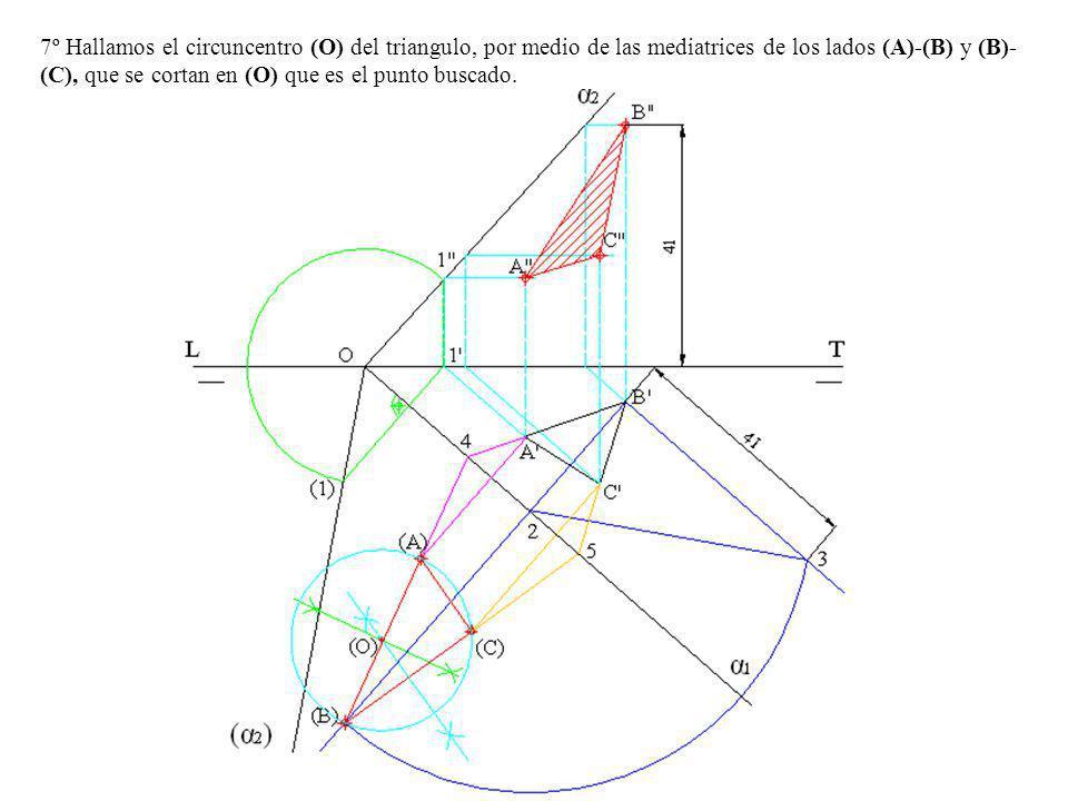 7º Hallamos el circuncentro (O) del triangulo, por medio de las mediatrices de los lados (A)-(B) y (B)-(C), que se cortan en (O) que es el punto buscado.