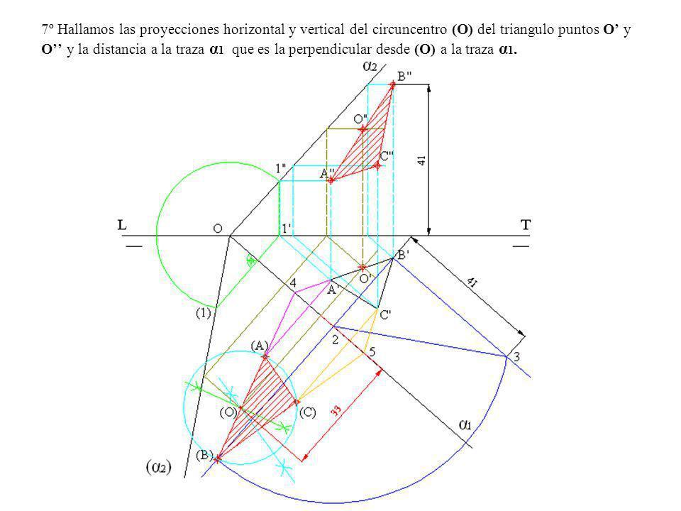 7º Hallamos las proyecciones horizontal y vertical del circuncentro (O) del triangulo puntos O' y O'' y la distancia a la traza α1 que es la perpendicular desde (O) a la traza α1.