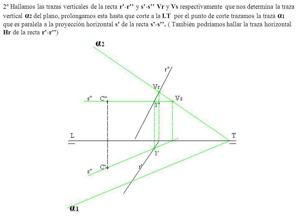 2º Hallamos las trazas verticales de la recta r'-r'' y s'-s'' Vr y Vs respectivamente que nos determina la traza vertical α2 del plano, prolongamos esta hasta que corte a la LT por el punto de corte trazamos la traza α1 que es paralela a la proyección horizontal s' de la recta s'-s''.