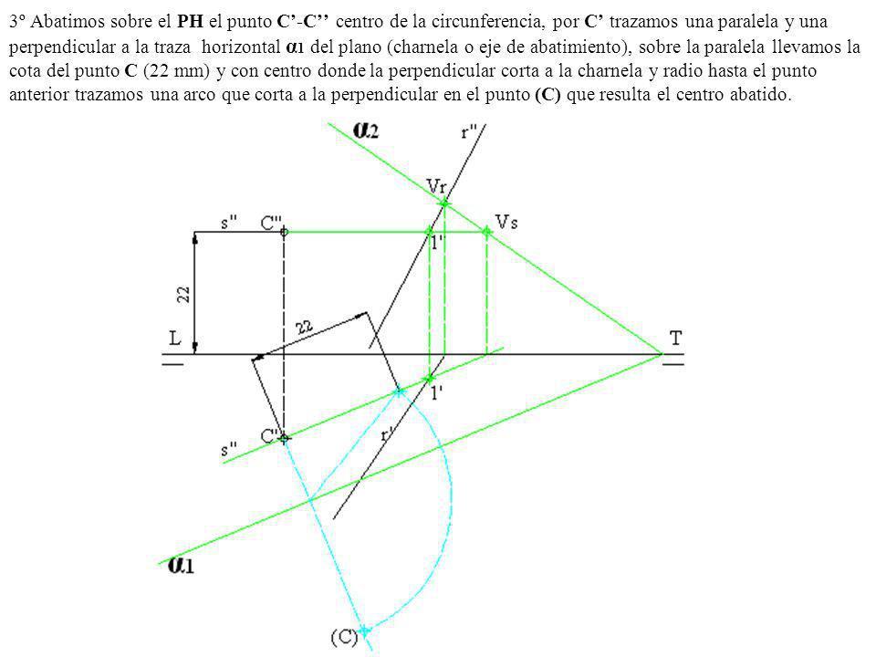 3º Abatimos sobre el PH el punto C'-C'' centro de la circunferencia, por C' trazamos una paralela y una perpendicular a la traza horizontal α1 del plano (charnela o eje de abatimiento), sobre la paralela llevamos la cota del punto C (22 mm) y con centro donde la perpendicular corta a la charnela y radio hasta el punto anterior trazamos una arco que corta a la perpendicular en el punto (C) que resulta el centro abatido.