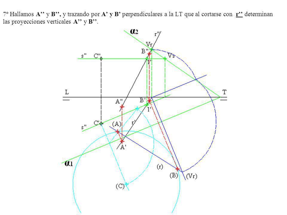 7º Hallamos A'' y B'', y trazando por A' y B' perpendiculares a la LT que al cortarse con r'' determinan las proyecciones verticales A'' y B''.