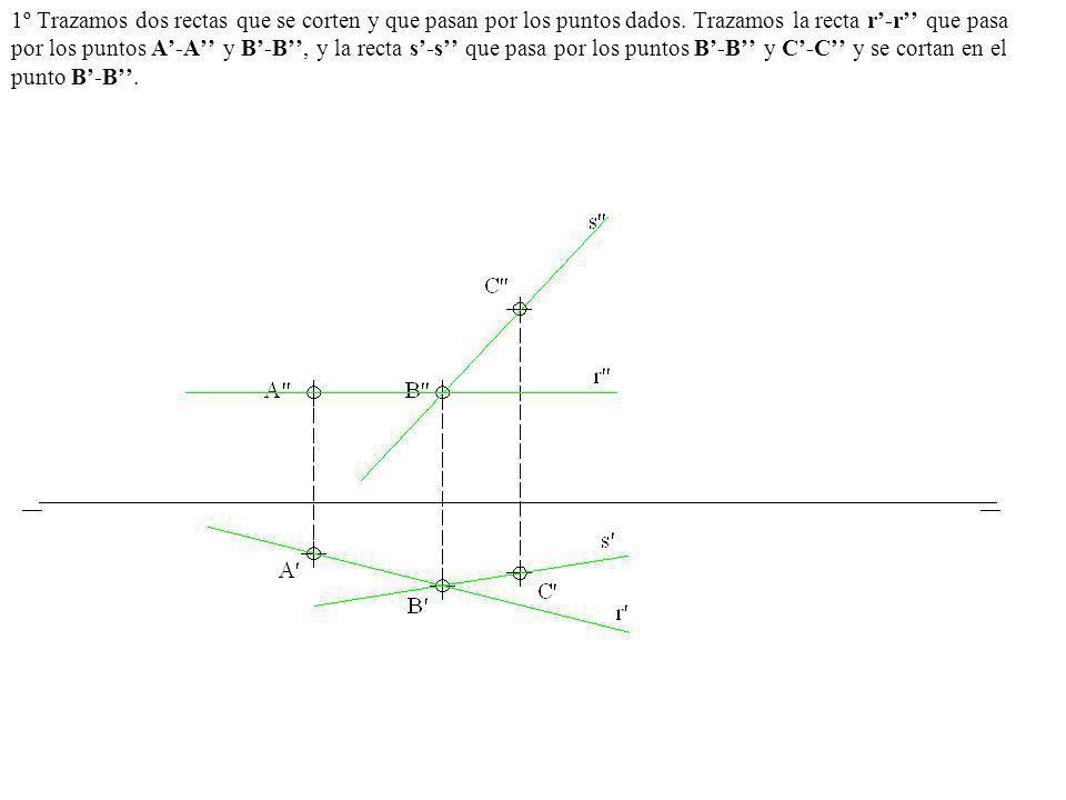 1º Trazamos dos rectas que se corten y que pasan por los puntos dados