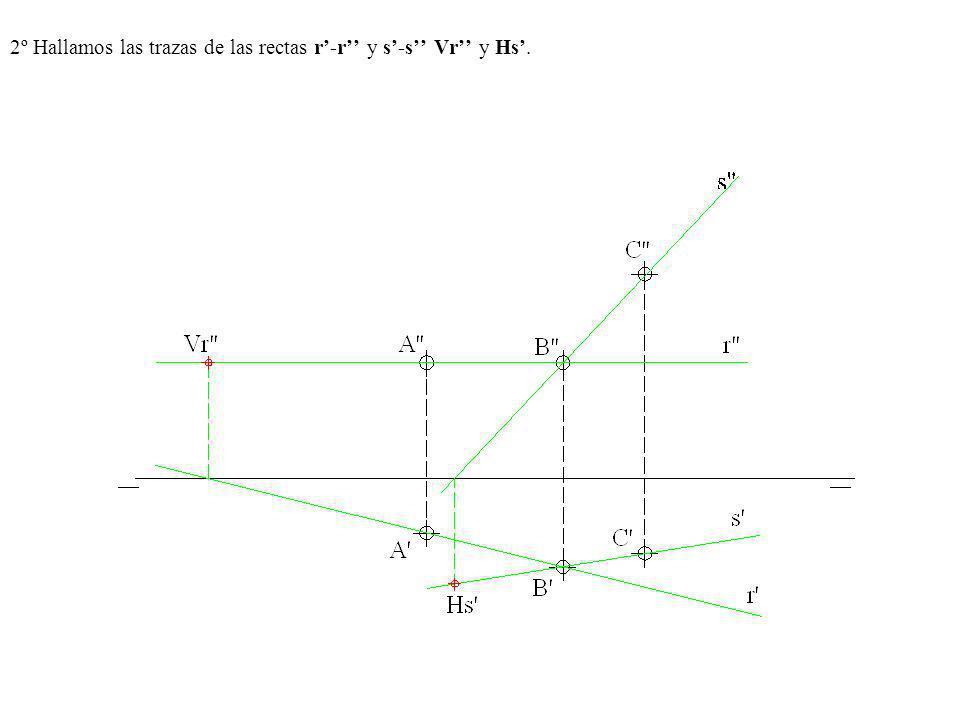 2º Hallamos las trazas de las rectas r'-r'' y s'-s'' Vr'' y Hs'.