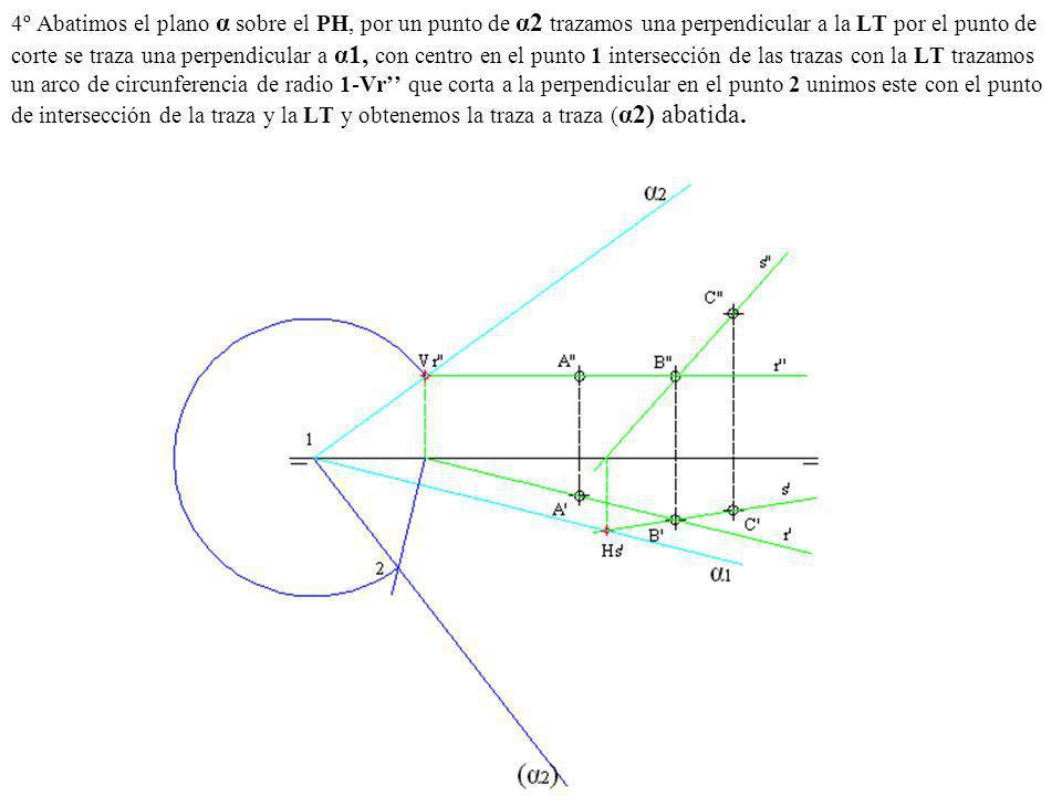 4º Abatimos el plano α sobre el PH, por un punto de α2 trazamos una perpendicular a la LT por el punto de corte se traza una perpendicular a α1, con centro en el punto 1 intersección de las trazas con la LT trazamos un arco de circunferencia de radio 1-Vr'' que corta a la perpendicular en el punto 2 unimos este con el punto de intersección de la traza y la LT y obtenemos la traza a traza (α2) abatida.