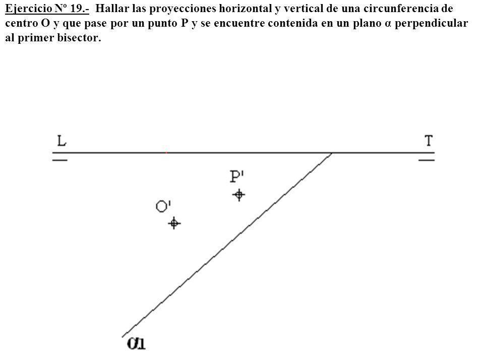 Ejercicio Nº 19.- Hallar las proyecciones horizontal y vertical de una circunferencia de centro O y que pase por un punto P y se encuentre contenida en un plano α perpendicular al primer bisector.