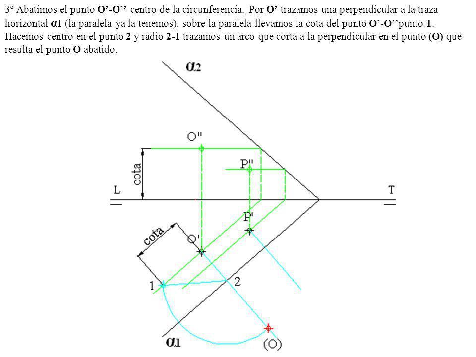 3º Abatimos el punto O'-O'' centro de la circunferencia