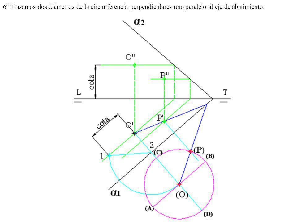 6º Trazamos dos diámetros de la circunferencia perpendiculares uno paralelo al eje de abatimiento.