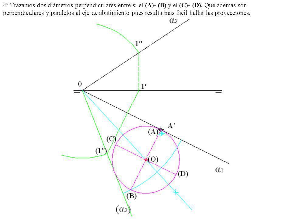 4º Trazamos dos diámetros perpendiculares entre si el (A)- (B) y el (C)- (D).