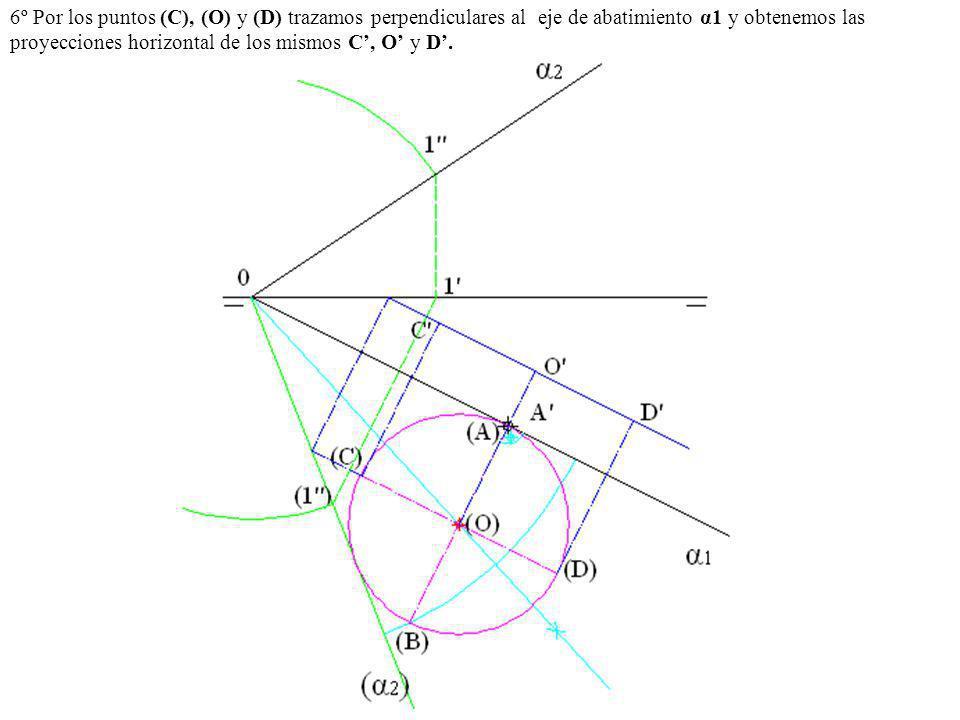 6º Por los puntos (C), (O) y (D) trazamos perpendiculares al eje de abatimiento α1 y obtenemos las proyecciones horizontal de los mismos C', O' y D'.