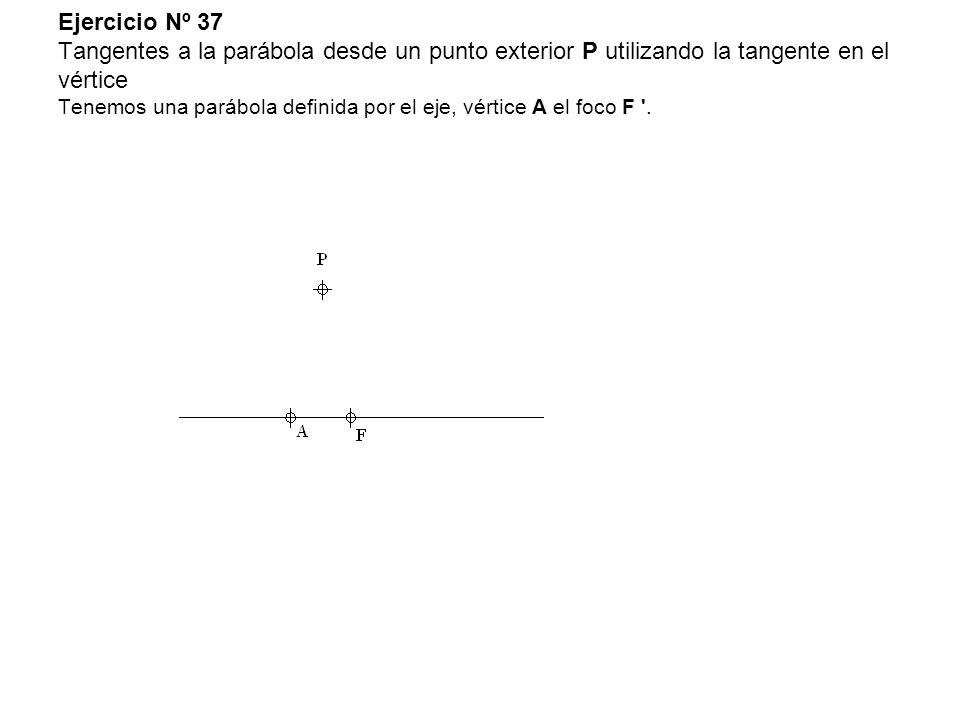 Ejercicio Nº 37 Tangentes a la parábola desde un punto exterior P utilizando la tangente en el vértice Tenemos una parábola definida por el eje, vértice A el foco F .