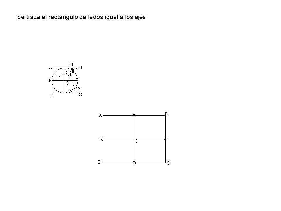 Se traza el rectángulo de lados igual a los ejes