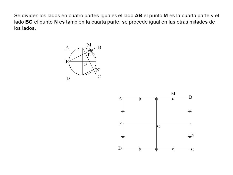 Se dividen los lados en cuatro partes iguales el lado AB el punto M es la cuarta parte y el lado BC el punto N es también la cuarta parte, se procede igual en las otras mitades de los lados.