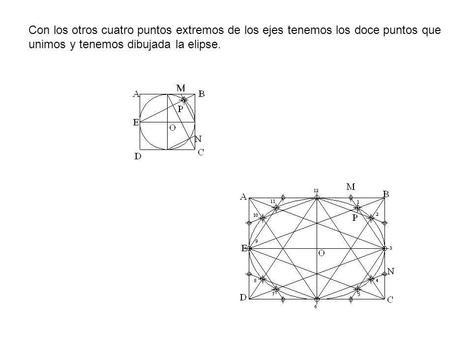 Con los otros cuatro puntos extremos de los ejes tenemos los doce puntos que unimos y tenemos dibujada la elipse.