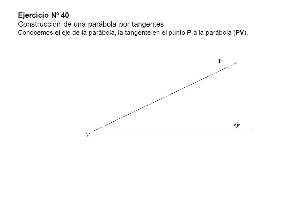 Ejercicio Nº 40 Construcción de una parábola por tangentes Conocemos el eje de la parábola, la tangente en el punto P a la parábola (PV).