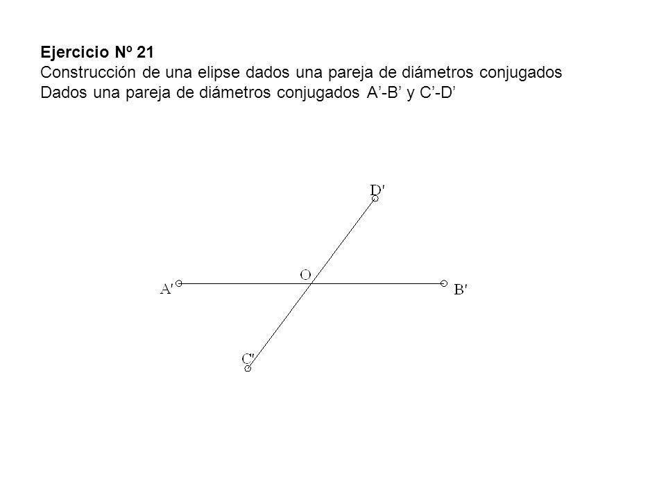 Ejercicio Nº 21 Construcción de una elipse dados una pareja de diámetros conjugados Dados una pareja de diámetros conjugados A'-B' y C'-D'