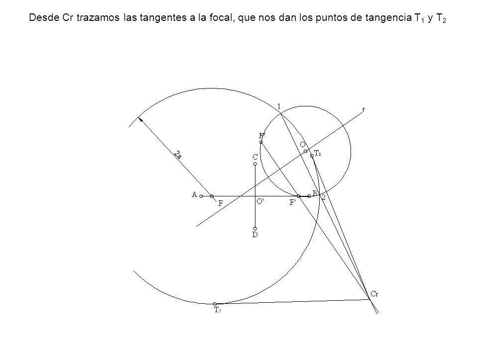 Desde Cr trazamos las tangentes a la focal, que nos dan los puntos de tangencia T1 y T2