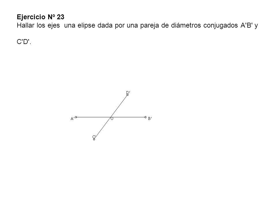 Ejercicio Nº 23 Hallar los ejes una elipse dada por una pareja de diámetros conjugados A B y C D .