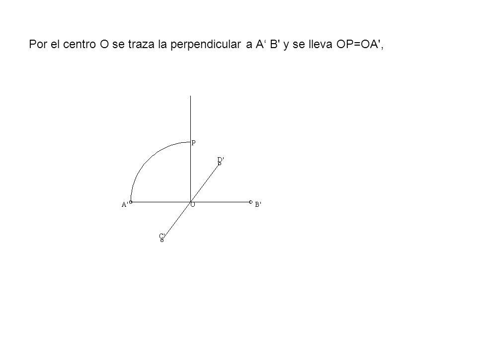 Por el centro O se traza la perpendicular a A' B y se lleva OP=OA ,