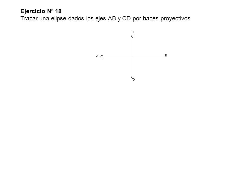 Ejercicio Nº 18 Trazar una elipse dados los ejes AB y CD por haces proyectivos