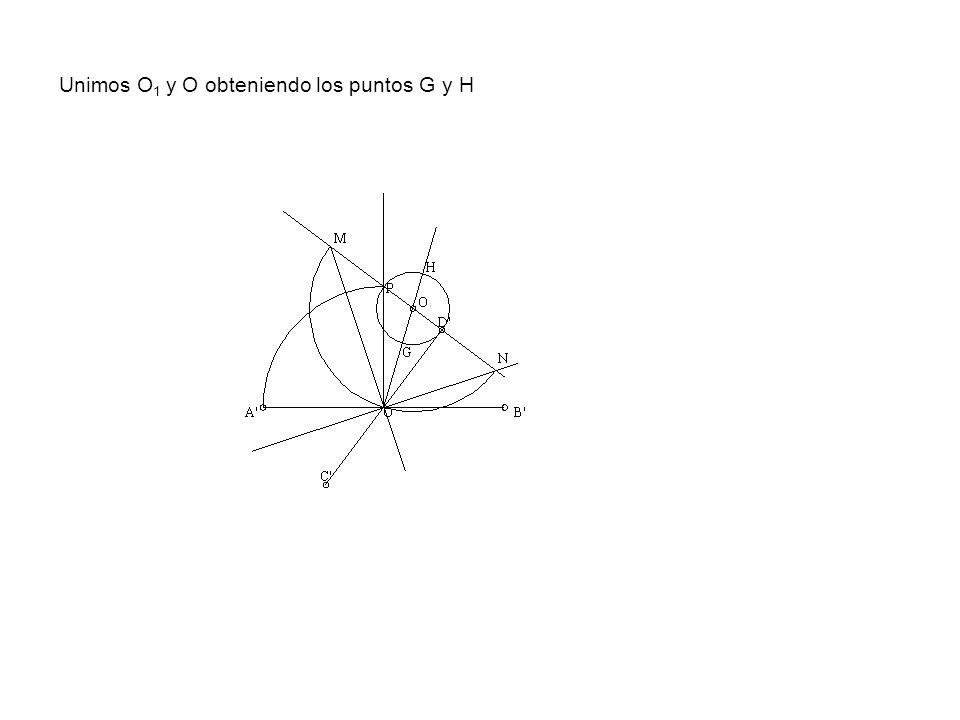 Unimos O1 y O obteniendo los puntos G y H