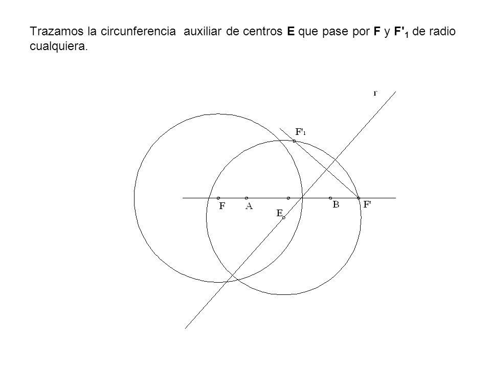 Trazamos la circunferencia auxiliar de centros E que pase por F y F 1 de radio cualquiera.