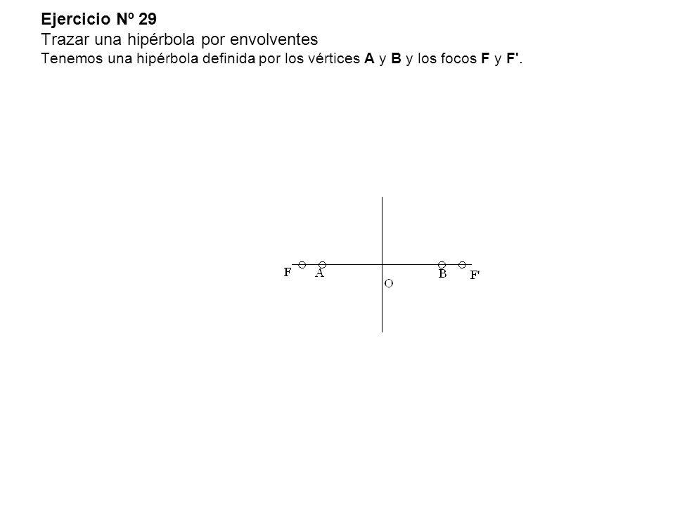 Ejercicio Nº 29 Trazar una hipérbola por envolventes Tenemos una hipérbola definida por los vértices A y B y los focos F y F .