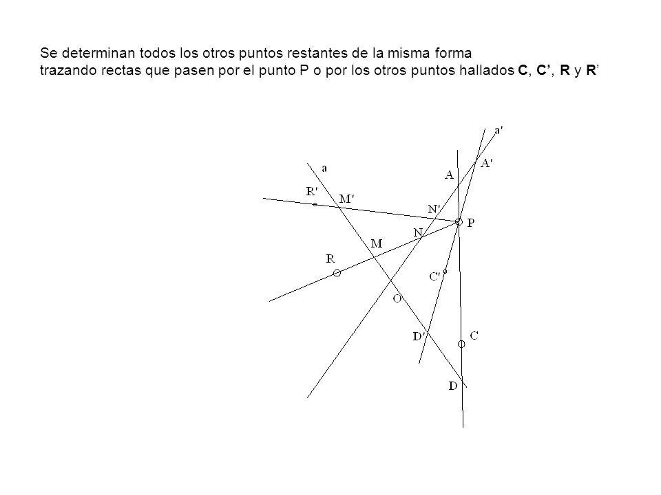 Se determinan todos los otros puntos restantes de la misma forma trazando rectas que pasen por el punto P o por los otros puntos hallados C, C', R y R'
