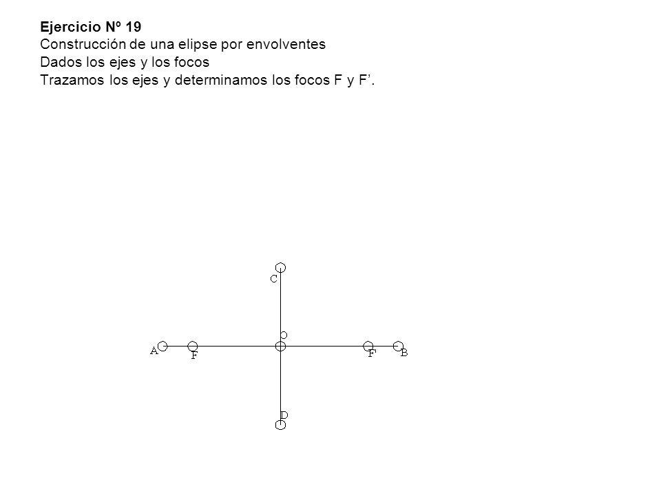 Ejercicio Nº 19 Construcción de una elipse por envolventes Dados los ejes y los focos Trazamos los ejes y determinamos los focos F y F'.