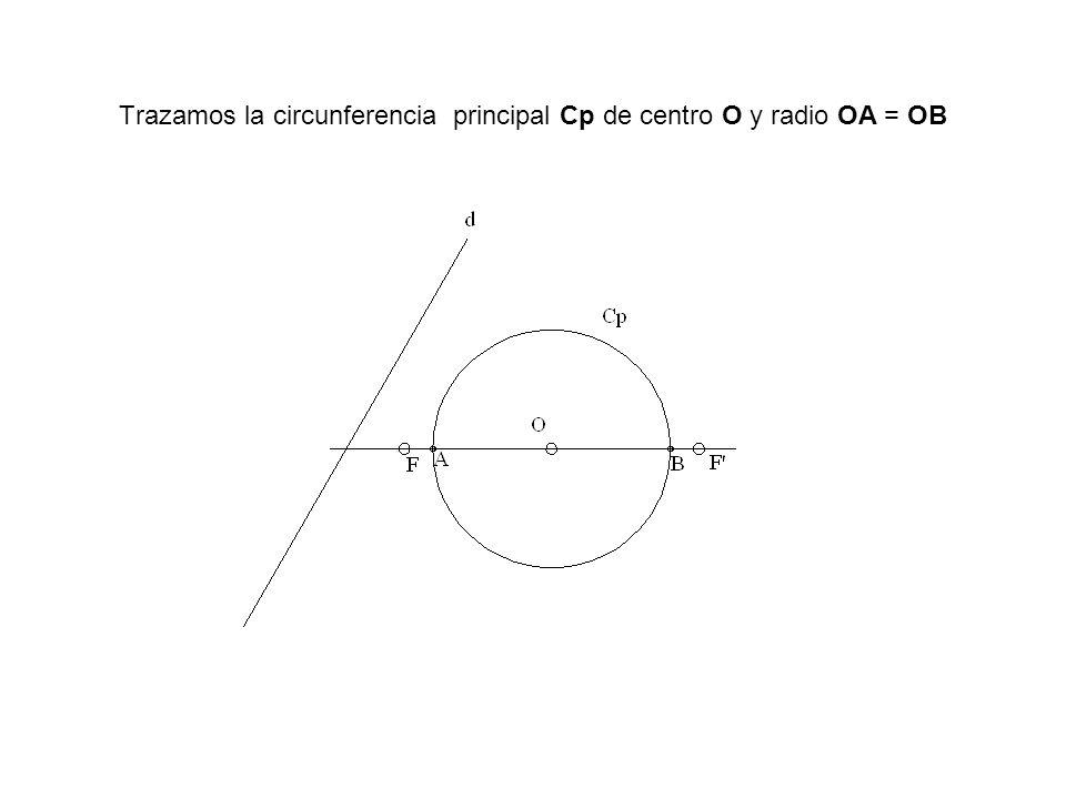 Trazamos la circunferencia principal Cp de centro O y radio OA = OB