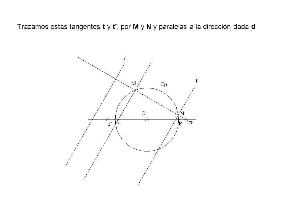 Trazamos estas tangentes t y t , por M y N y paralelas a la dirección dada d
